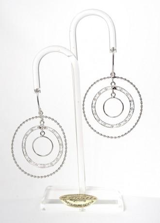 Orecchini pendenti realizzati in filigrana rodiata