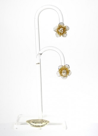 Orecchini a Rose in Filigrana Bicolore