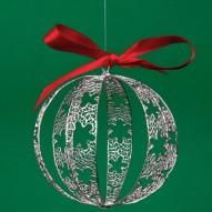 Grande Pallina di Natale in Filigrana Rodiata