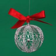 Piccola Pallina di Natale in Filigrana Rodiata